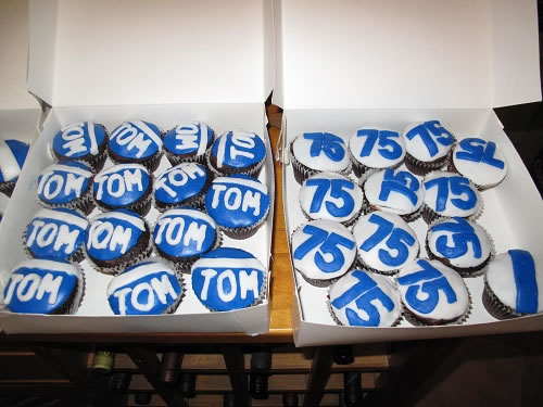 Football themed 75th cupcakes
