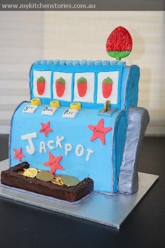 Poker machine cake