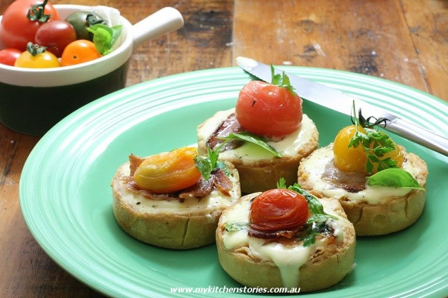 Tomato Tarts with goats curd