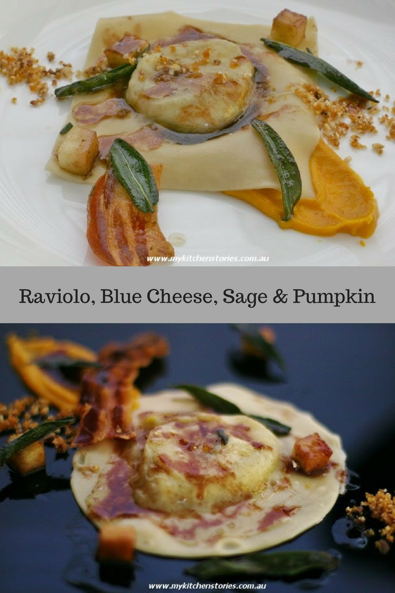Raviolo, Blue Cheese pasta with pancetta