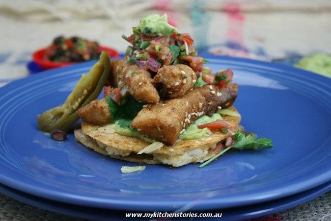 Potato Quesadilla, Crispy Fish