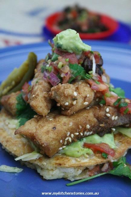 Potato Quesadilla, Crispy Fish on pretty blue plates