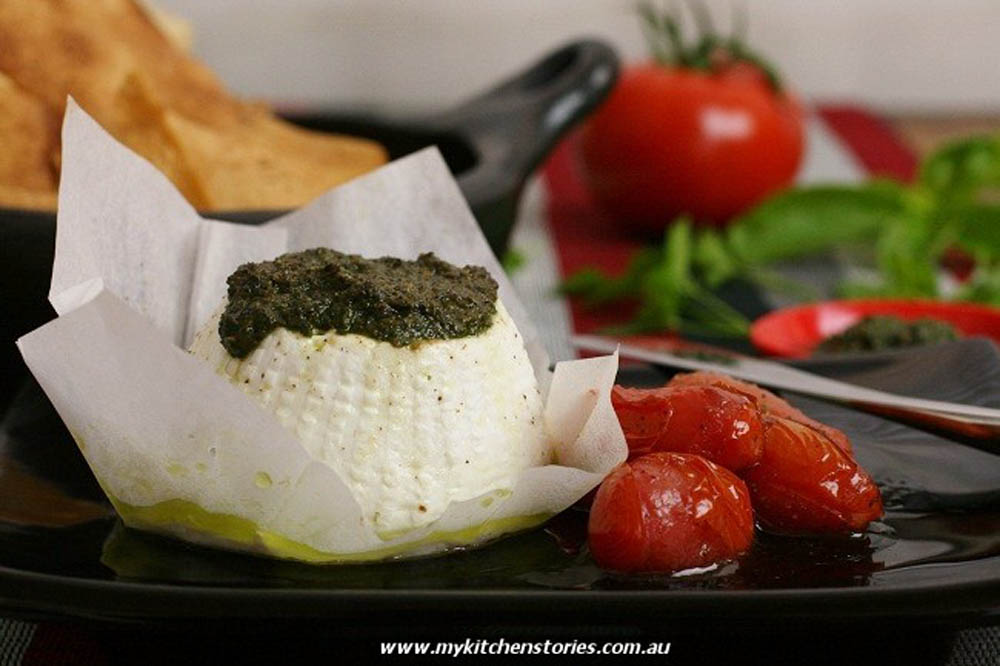 Roasted Buffalo Ricotta with Pesto