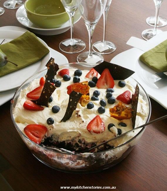 Brownie Trifle with mascarpone and raspberries