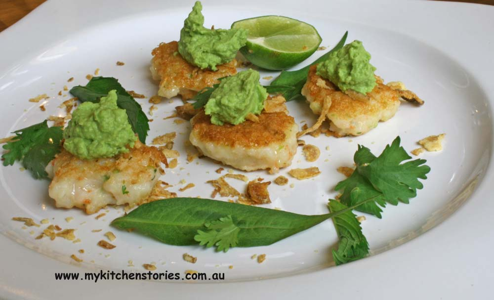 Prwn cakes with green curry pea puree- My Kitchen Stories