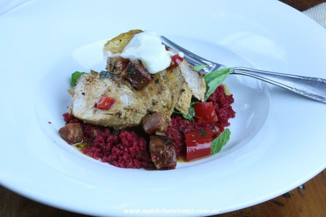 Spiced Chicken with beetroot couscous