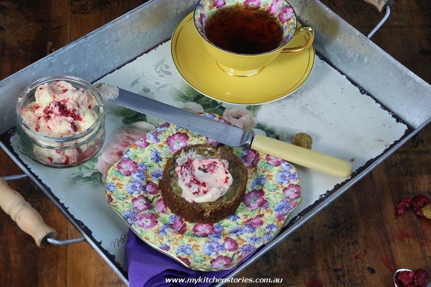 Berry Tea Cake on a tray