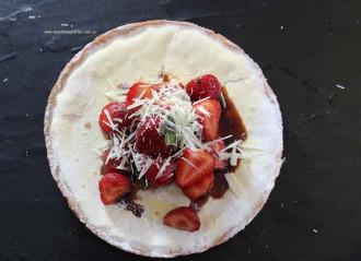 White chocolate strawberry tart with balsamic vinegar