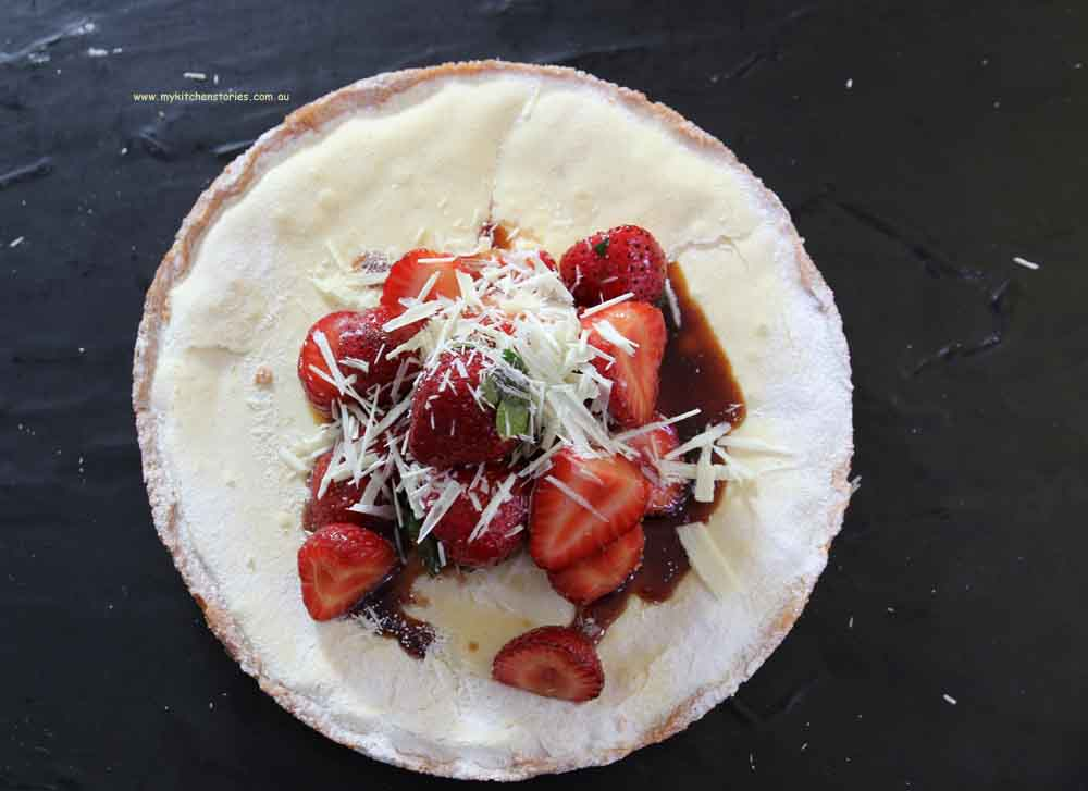 White chocolate strawberry tart with balsamic vinegar