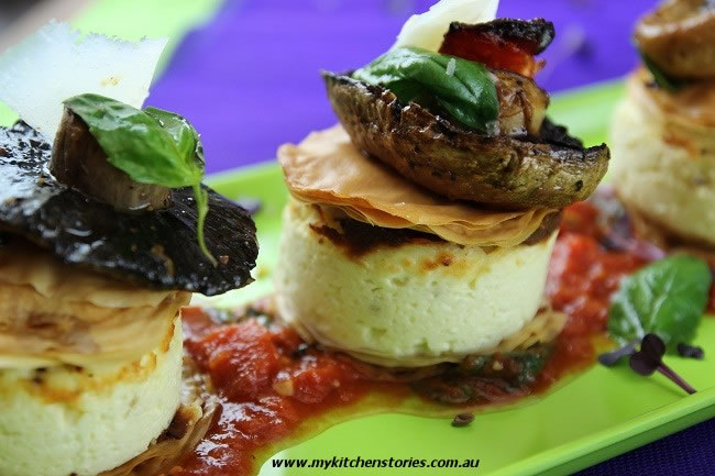 Baked Ricotta with Mushrooms, Tomato and Basil - My Kitchen Stories