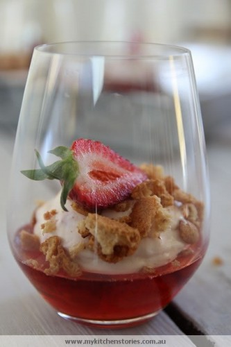 Lambrusco with Strawberry Cream in a glass
