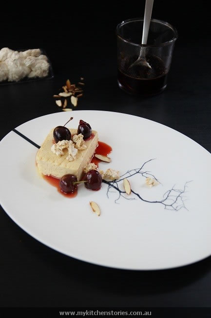 Semifreddo No Churn Icecream with cherries