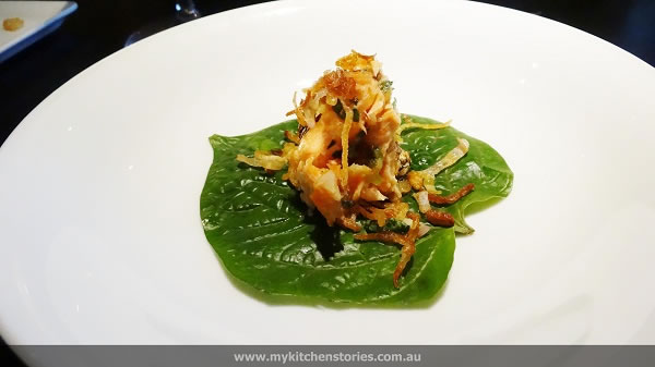 betal leaf ,tea smoked trout and capsicum