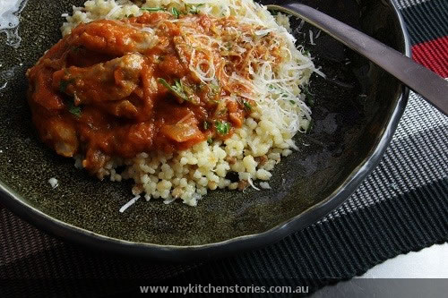Fregola with Braised Chicken makes delicious slow food