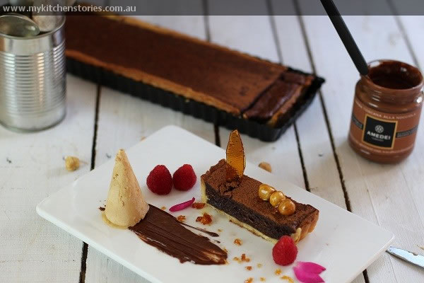 Chocolate Tart with semifreddo and Amedei nutella