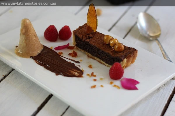 chocolate tart with amadei chocolate