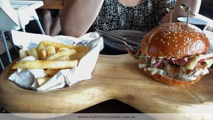 Chicken Burger with gruyere and slaw