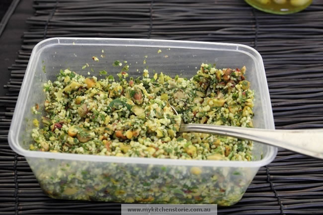Green Olive and Pistachio Tabouli
