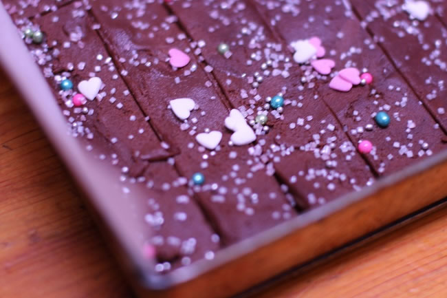 Chocolate shortbread with festive Easter sprinkles