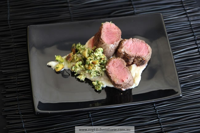 Lamb with Pistachio Green Olive Tabouli