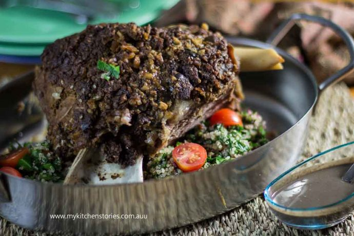 Slow Cooked lamb in a roasting tray