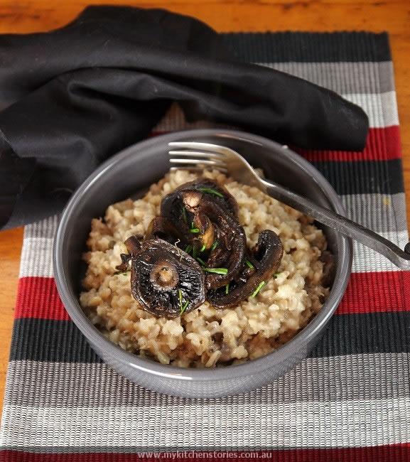 Barley with mushroom risotto