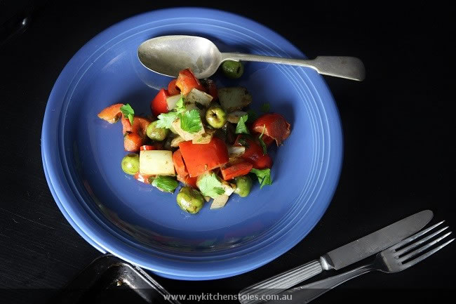 Parmesan Lamb Warm fennel red pepper salad