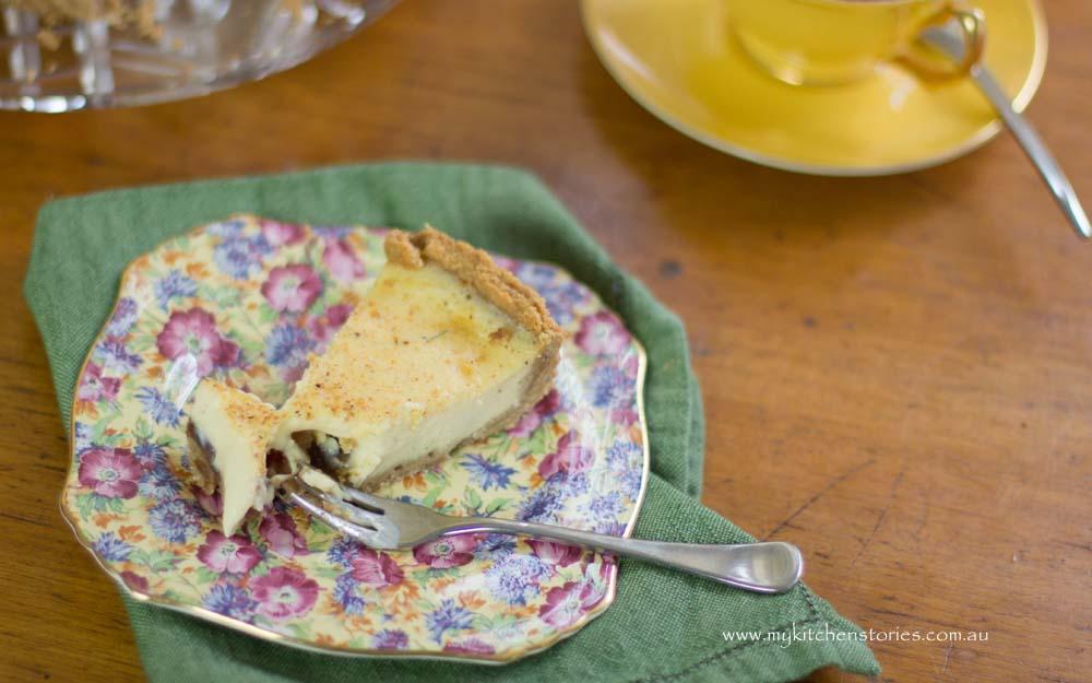 Date tart with custard