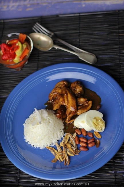 Nasi lemak with pickled vegetables