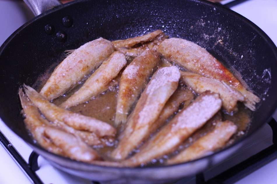 Fried Whiting in a frypan