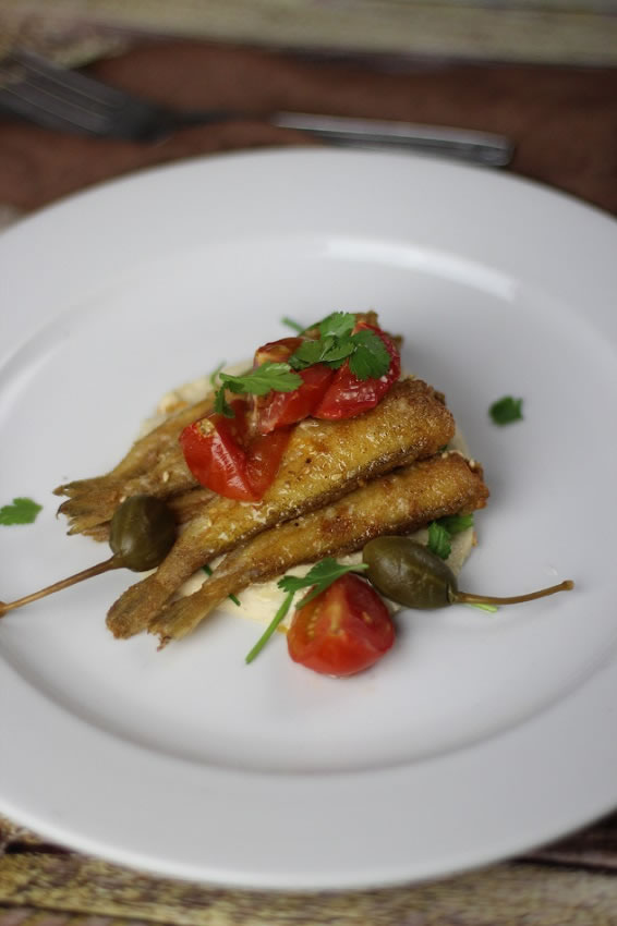 Fried Whiting on a White plate