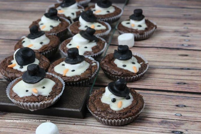 Melted Snowman brownies