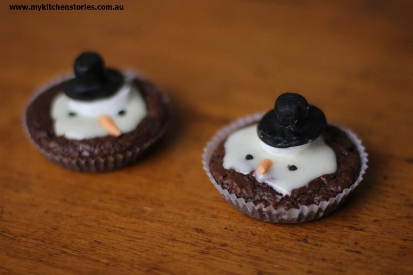 Snow man Brownies for Christmas