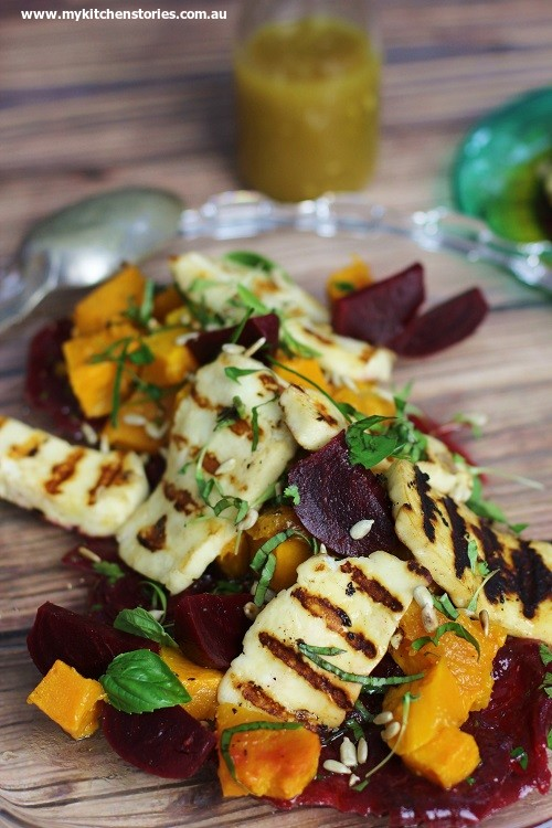 Beets and Pumpkin Salad with Grilled haloumi