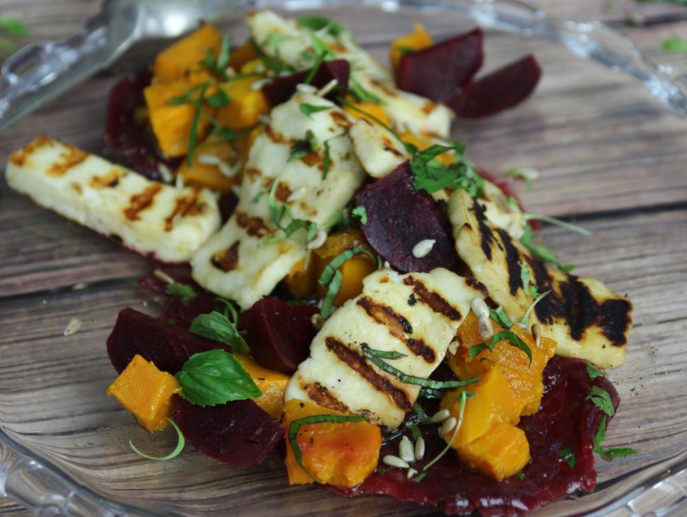 Beetroot Pumpkin and Haloumi salad