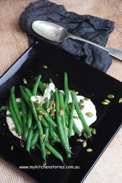 Green Beans with parmesan and toasted Pumpkin seeds