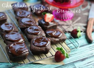 Chocolate Yoghurt Brownies with chocolate glaze