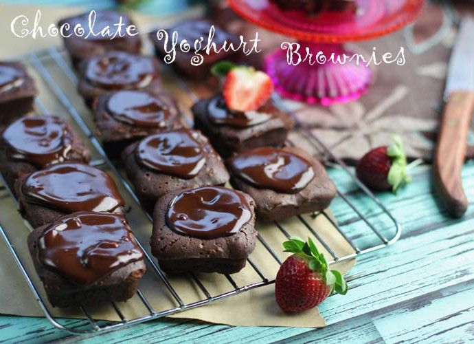 Chocolate Yoghurt Brownies with chocolate glaze