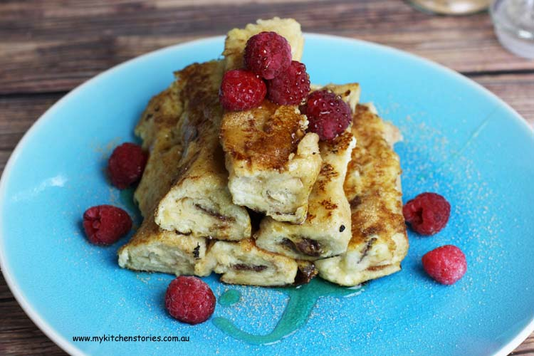 Raspberry and choclate french toast