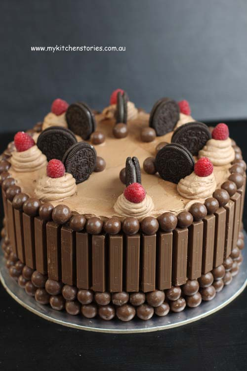 Chocolate kit kat cake with raspberries