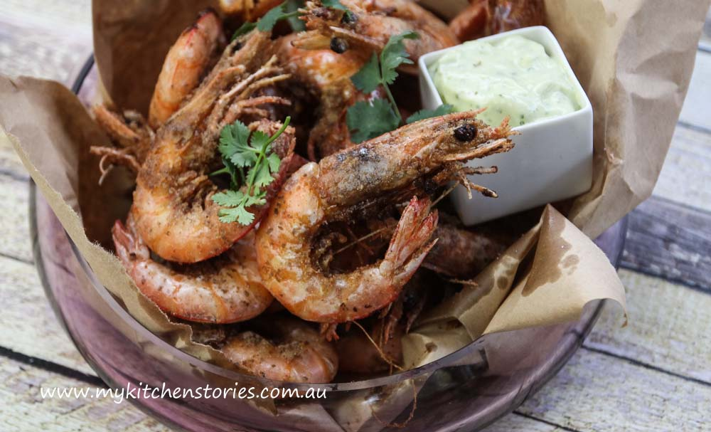Salt and Pepper Prawns with Lime aioli