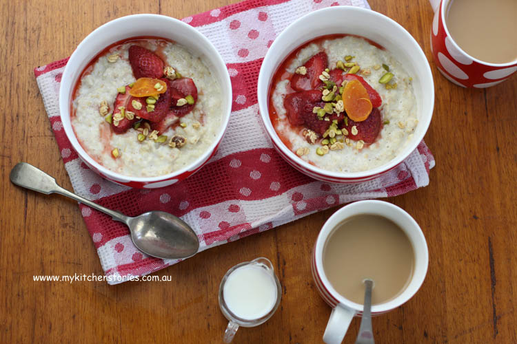 Oats and maple Syrup with Poached Strawberries