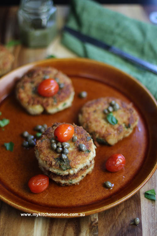 Delicious easy tuna cakes on a brown plate