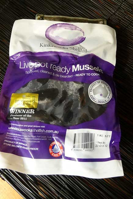 mussels in bag