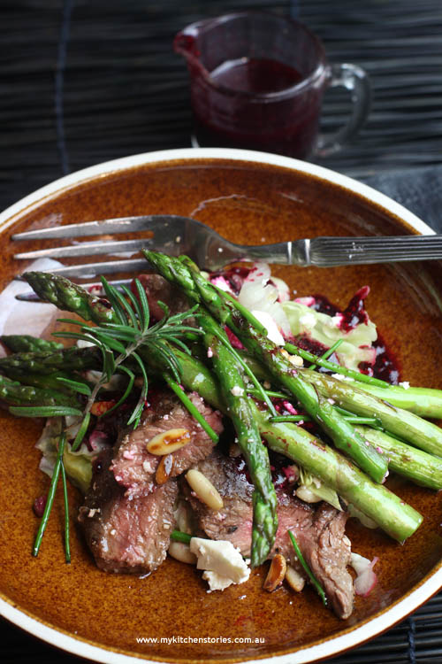 Asparagus and lamb salad