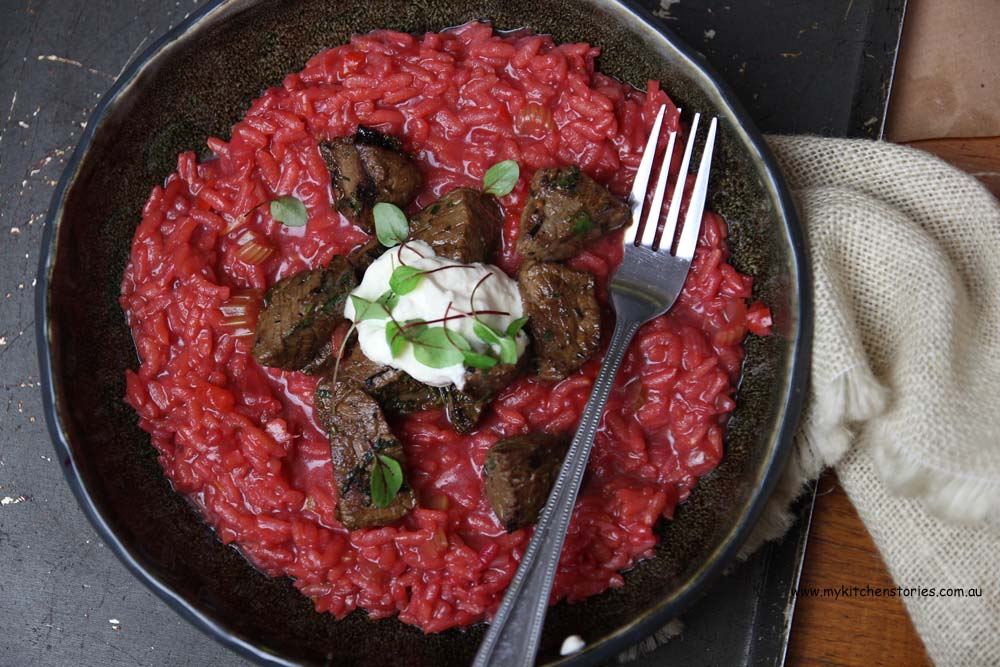 Beef, beetroot and horseradish risotto