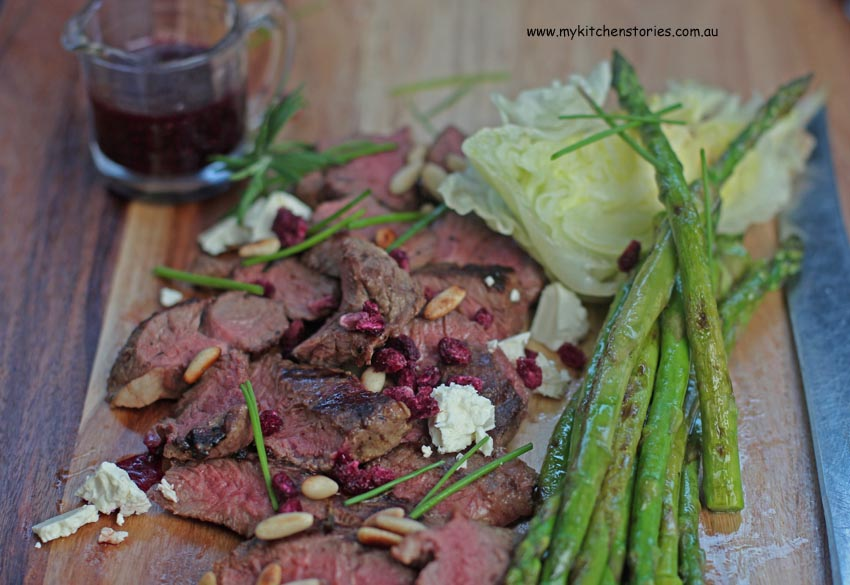 Lamb asparagus and Chia beetroot dressing