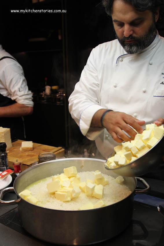 Marco at Boffi kitchens producing his version of risotto
