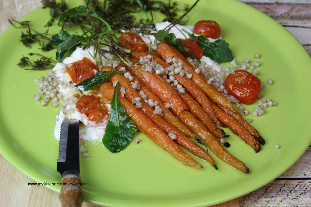 Carrot, goat cheese and baby kale- roast tomatoes-buckheat