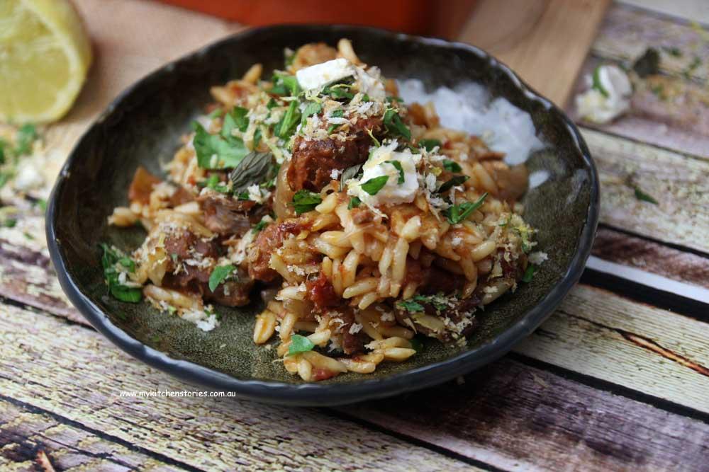 Slow roast lamb and risoni pasta